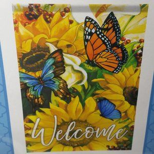Outdoor Garden Flag Double Sided Welcome Yellow